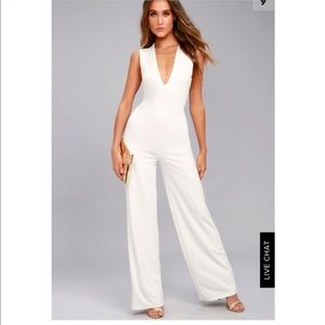 Lulus thinking out loud jumpsuit, white backless
